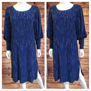 Vintage 80's Blue Beaded Silk Cocktail Dress